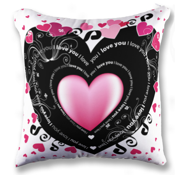 Jual Bantal Black Pink Love You - Print Bantal Sofa Kotak (Full-Print) Custom | Ciptaloka.com