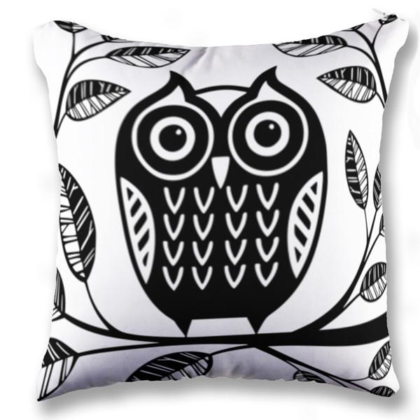 Jual bantal owl black and white print bantal sofa kotak full print custom ciptaloka com