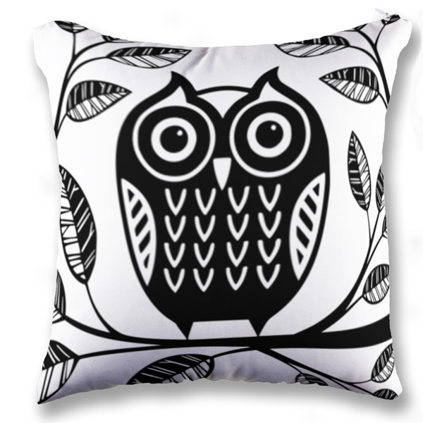 Jual bantal owl black and white print bantal sofa kotak full print custom ciptaloka com