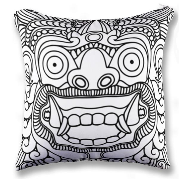 Jual bantal barong bali black and white print bantal sofa kotak full print custom ciptaloka com